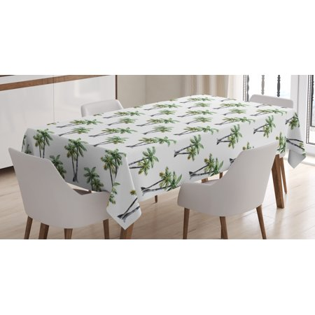Palm Tree Tablecloth, Botanical Watercolor Artwork of Hawaiian Aloha Forest Palm Trees in Pairs, Rectangular Table Cover for Dining Room Kitchen, 52 X 70 Inches, Grey Green White, by Ambesonne