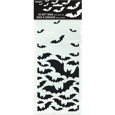 Black Bats Halloween Cellophane Bags, 11.5 x 5 in, - Halloween 5 Man In Black