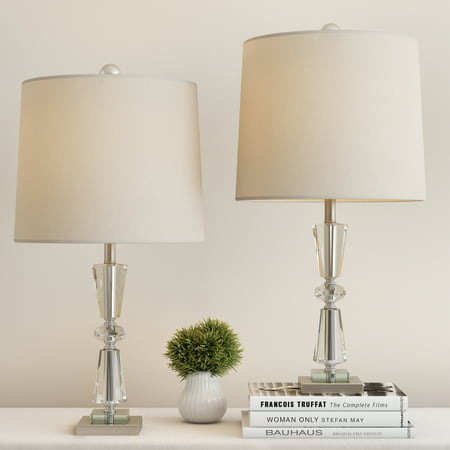 Crystal Double Tiered Lamps with Shades-Set of 2 Faceted Brushed Silver Base Matching Table Lamps-Elegant, Modern Lights-Home Decor by Lavish