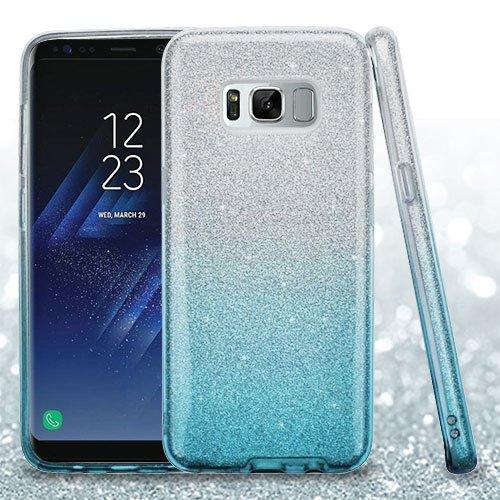 Samsung Galaxy S8+, S8 Plus Case - Wydan Slim Hybrid Glitter Sparkle Shock Absorbant Skin TPU Phone Cover Silver on Blue