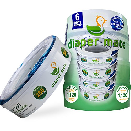 Diaper Mate Refill for Diaper Genie Diaper Pails 4 Pack -...