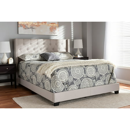 Baxton Studio Brady Modern and Contemporary Beige Fabric Upholstered Queen Size - Beige Beads