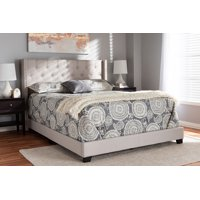 Baxton Studio Brady Modern and Contemporary Beige Fabric Upholstered King Size Bed