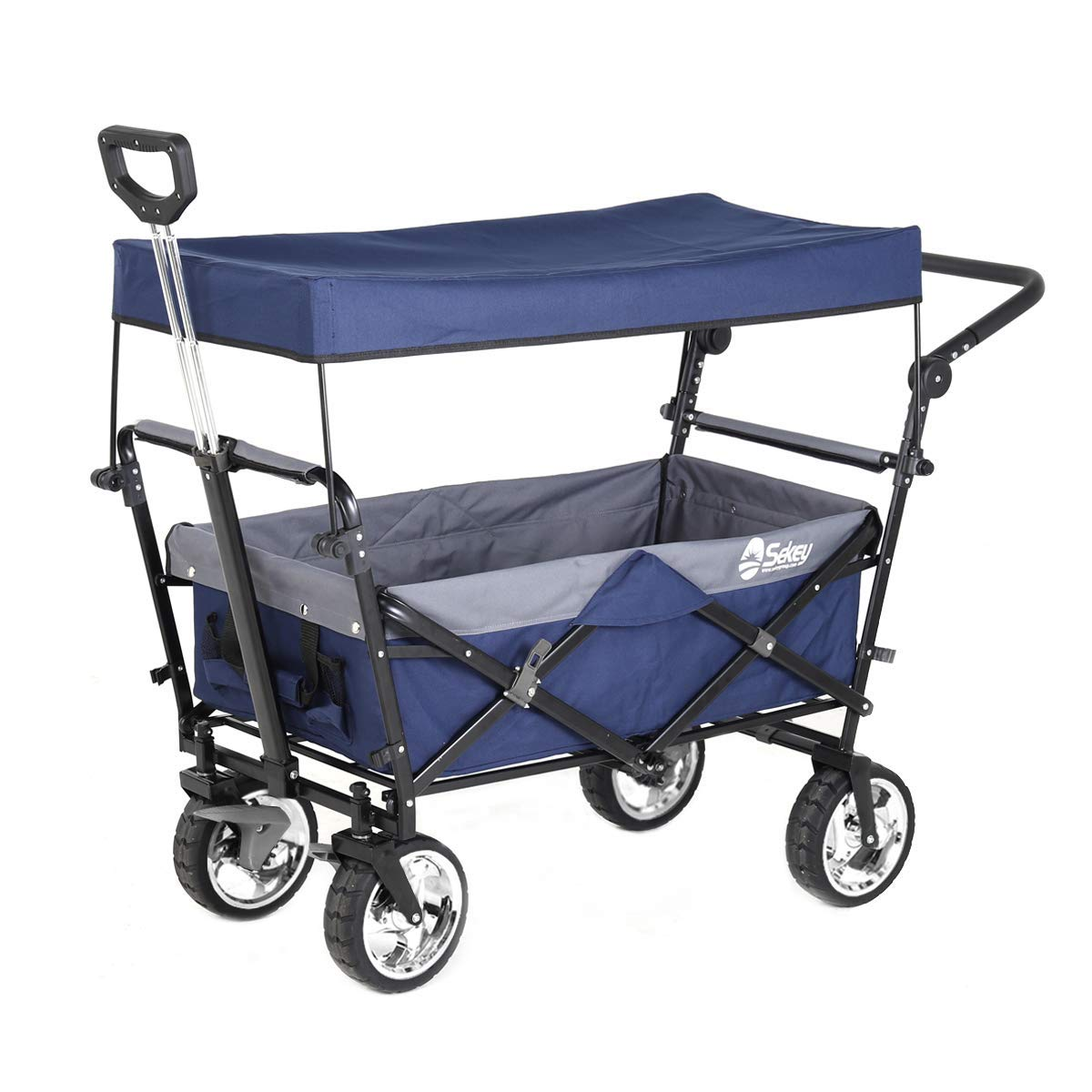 Sekey Folding Wagon with Canopy Collapsible Outdoor Utility Wagon with Telescopic Push Bar Camping Wagon , Heavy-duty Wheels with Brakes, Blue