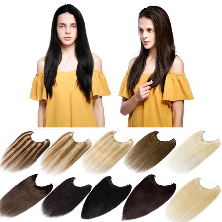 S-noilite Hidden Invisible Crown Flip on Human Hair Extension One Piece Secret Miracle Wire in Hairpieces No Clip No Tape in Remy Hair Translucent Fish Line Headband Blond & bleach