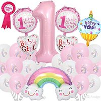 1st One Year Old Girl's Baby Birthday Party Supplies Party Pack Decorations Balloons Unicorn Pattern Pink and White Balloons Happy Birthday Baby Birthday Badge Brooch