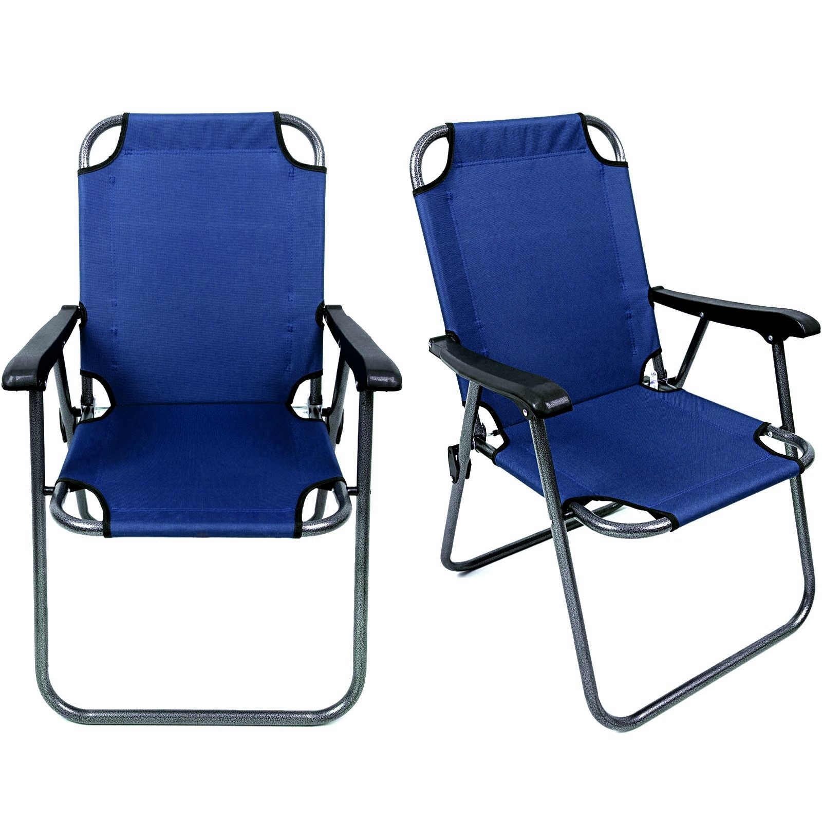 Magshion Deluxe Lightweight Beach Chair Outdoor Camping Hiking With Armrest Chair Set of 2Blue