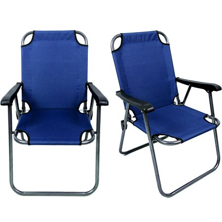 Deluxe Chaise - Magshion Deluxe Lightweight Beach Chair Outdoor Camping Hiking With Armrest Chair Set of 2 Blue