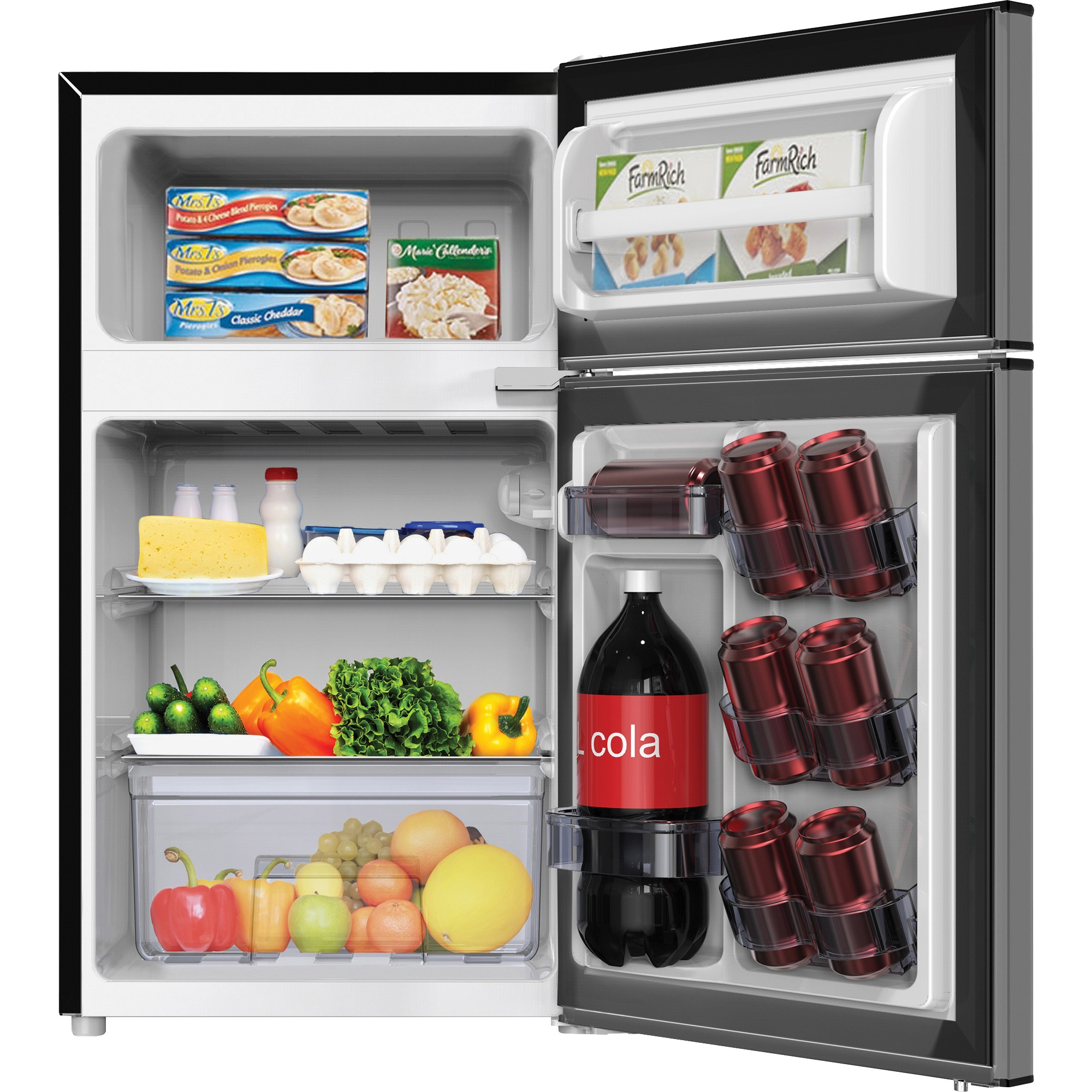 Avanti RA31B3S 3.1 CF 2dr Counterhigh Refrigerator, Black Cabinet,  Stainless Steel Door, Clear