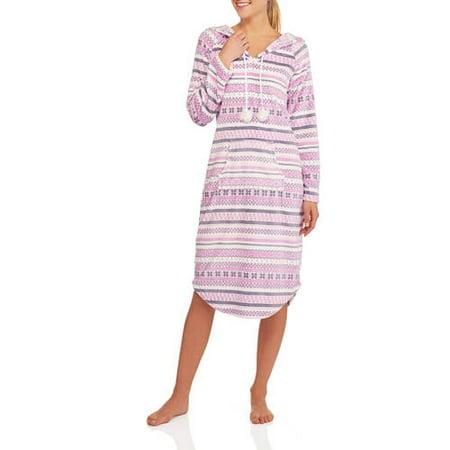 0dee43abcc Women s Plush Fleece Hooded Sleep Pullover Robe - Walmart.com