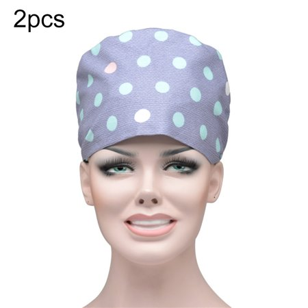 Cheers 2Pcs Floral Dots Print Scrub Cap Sweat Absorbant Round Bouffant Adjustable Hat - image 4 of 6