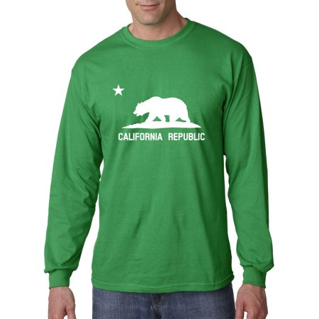 New Way 976 - Unisex Long-Sleeve T-Shirt California Republic Vintage Grizzly Bear Star Large Kelly - Grizzly Bear Suit For Sale