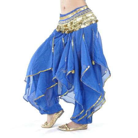BellyLady Belly Dance Harem Pants Tribal Baggy Arabic Halloween Pants-NavyBlue ()