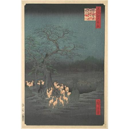 Shozokuenoki Tree at Oji Fox  fires on New Years Eve Poster Print by Utagawa Hiroshige (8 x 10) 1797  1858 Tokyo (8 x 10)) (8 x - New Years Eve Clock