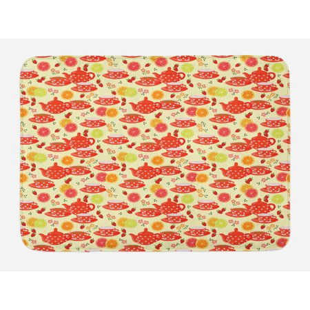 Modern Bath Mat, Teapots and Cup with Polka Dots Lime Orange and Strawberry Fruits Cute Display, Non-Slip Plush Mat Bathroom Kitchen Laundry Room Decor, 29.5 X 17.5 Inches, Yellow Scarlet, Ambesonne - Tea Cup Display