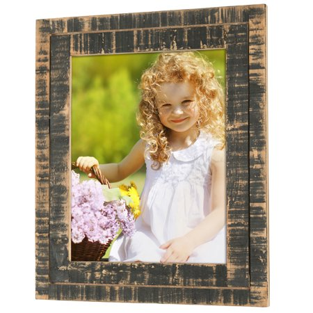 Rustic Distressed Wood Frame: Holds an 8x10 Photo: Ready to Hang,  Ready to Stand with Built in Easel, Shabby Chic, Driftwood, Barnwood, Farmhouse, Reclaimed Wood Picture Frame ()