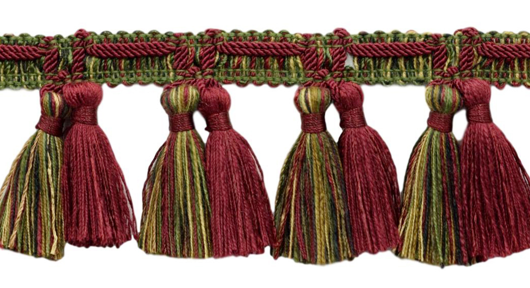 Color: Rusty Brick D/ÉCOPRO Veranda Collection 3.5 Inch Tassel Fringe Trim Style# VTF035 VNT22 Brick Red Sold by The Yard Rust