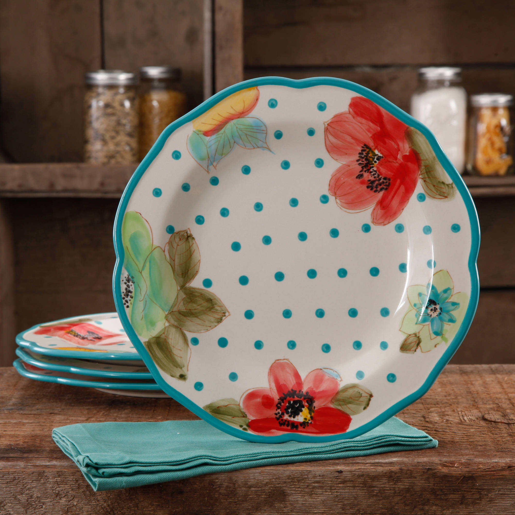 The Pioneer Woman Vintage Bloom 4-Pack Scalloped Dinner Plate Set, Multi-Color