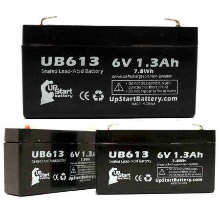3x Pack - MASIMO RADICAL 8 Battery Replacement -  UB613 Universal Sealed Lead Acid Battery (6V, 1.3Ah, 1300mAh, F1 Terminal, AGM, SLA) - Includes 6 F1 to F2 Terminal Adapters