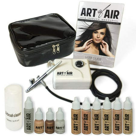 Art of Air Professional Airbrush Cosmetic Makeup System / Fair to Medium Shades 6pc Foundation Set with Blush, Bronzer, Shimmer and Primer Makeup Airbrush Kit (Cosmetics Foundation)