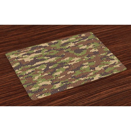 Camo Placemats Set of 4 Summer Season Pattern Abstract Concept Comb Like Mosaic Form Illustration, Washable Fabric Place Mats for Dining Room Kitchen Table Decor,Green Brown Dark Brown, by Ambesonne