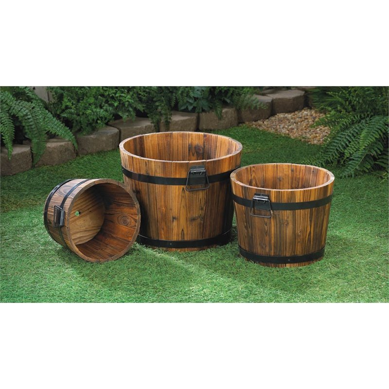 Zingz and Thingz 3 Piece Apple Barrel Planter