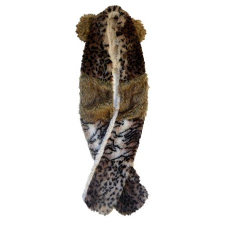 Womens Plush Animal Print Faux Fur Trapper Hat With Ears Wrap Scarf Leopard
