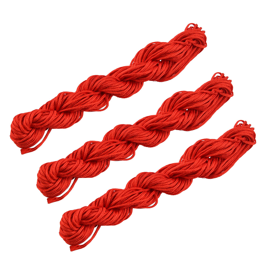 Household Polyester Chinese Knot Bracelet Beading Rattail Cord Red 16 Yards 3pcs