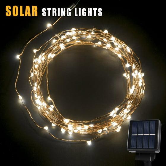 Solar Patio String Lights Walmart: BetterHome 120 LEDs Outdoor Solar Powered LED String