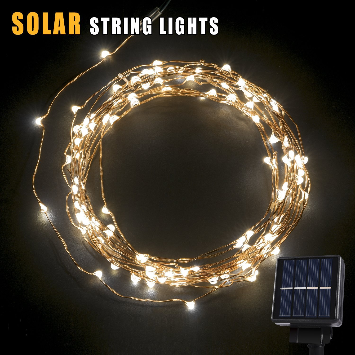 BetterHome 120 LEDs Outdoor Solar Powered LED String Lights 19ft Waterproof  Copper Wire Lights For Garden
