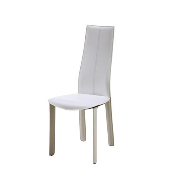 Whiteline DC1004H-WHT Allison Dining Chair White Hard Leather Matching Stitching - Pack of 4