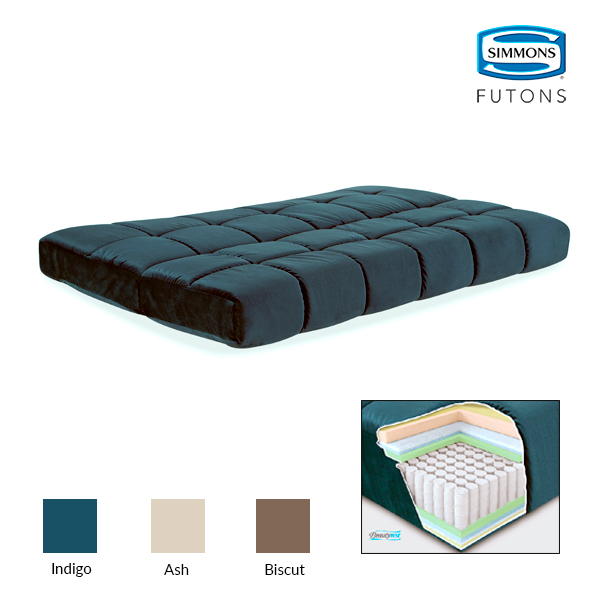 "Simmons Beautyrest Full 8"" Pannel Quilted Pocketed Coil Innerspring Futon in Ash"