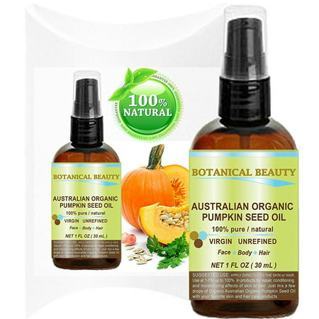 organic pumpkin seed oil australian. 100% pure / natural / undiluted /unrefined cold pressed carrier oil. 1 fl.oz.- 30 ml. for skin, hair, lip and nail care. one of the richest sources of enzymes,