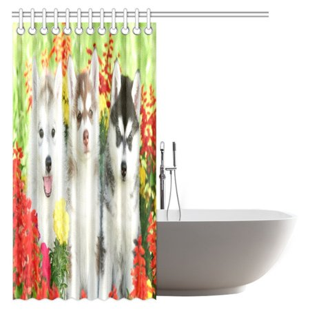 POP Dog Lover Decor Collection Shower Curtain, Funny Pattern Group of Siberian Husky Puppy Dogs Bathroom Set 66x72 inch - image 1 of 3