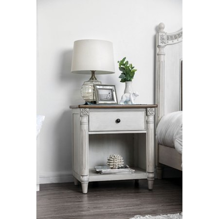 Tone Solid Wood (Benzara Dual Tone Solid Wood Night Stand with Turned Pillar Style Legs, White and Brown )