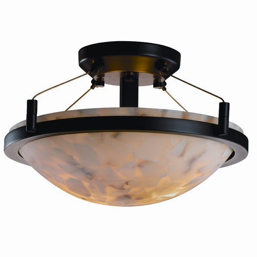 Justice Design Group Ring Alabaster Rocks Round Semi Flush Mount