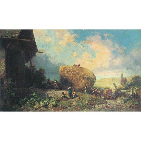 Framed Art for Your Wall Spitzweg, Carl - The harvest (import of harvest wagon in the barn) 10 x 13 Frame ()