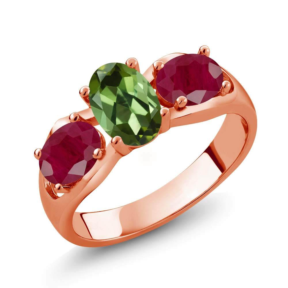 1.90 Ct Oval Green Tourmaline Red Ruby 18K Rose Gold Plated Silver Ring by