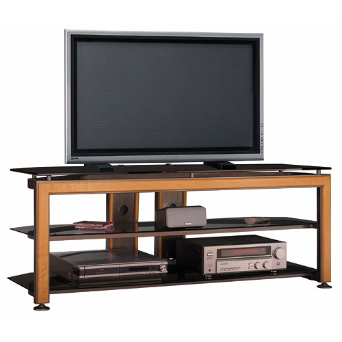 """Bush Universal Gray Metallic TV Stand with Maple or Cherry Trim, for TVs up to 60"""""""