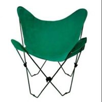 "35"" Retro Style Outdoor Patio Butterfly Chair with Green Cotton Duck Fabric Cover"