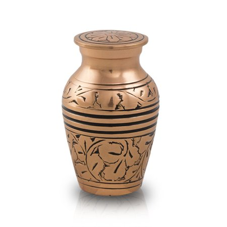 (Bronze Keepsake Urns - Extra Small 5 Pounds -  Gold Etched Oak - Engraving Sold Separately)
