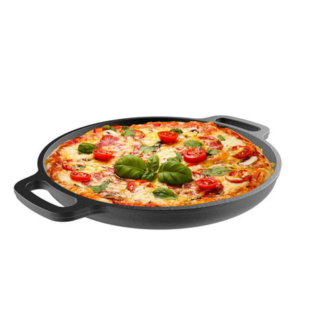 """Clad 14' Cast - Cast Iron Pizza Pan-13.25"""" Pre-Seasoned Skillet for Cooking, Baking, Grilling-Durable, Long Lasting, Even-Heating Kitchen Cookware by Classic Cuisine"""