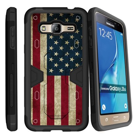 sale retailer 7478a 5352e Samsung Galaxy J3, Galaxy Sky Dual Layer Shock Resistant MAX DEFENSE Heavy  Duty Case with Built In Kickstand - American Flag USA