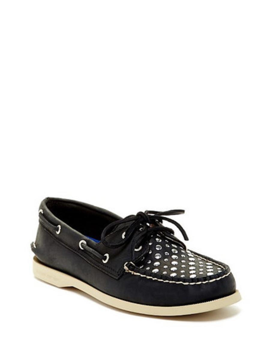 Sperry Top-Sider Womens A/O Black Studs  Boat Shoe 7M