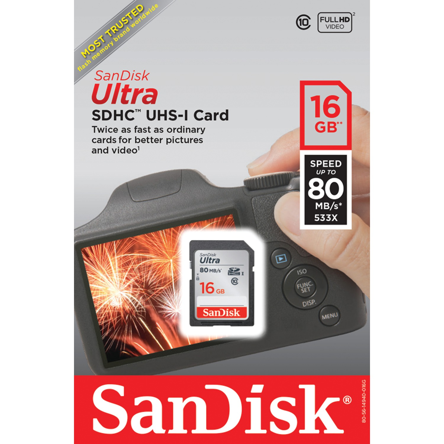 SanDisk 16GB Class 10 SDHC UHS-I Up to 80MB/s Memory Card