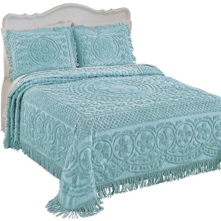 Sage Cotton Summer Collection - Collections Etc Calista Chenille Bedspread with Fringe Border, Machine Washable, Cotton