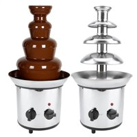 HERCHR Chocolate Fondue Fountain,Chocolate Melting Machine,4 Tiers  Electric Chocolate Melting Machine Fondue Maker Fountain US Plug 110V