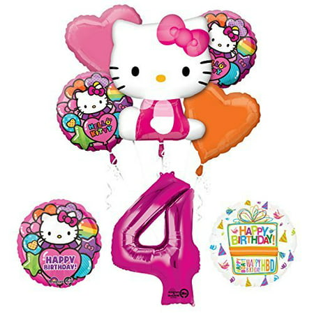 Hello Kitty 4th Birthday Party Supplies and Balloon Bouquet Decorations - Hello Kitty Halloween Party Supplies
