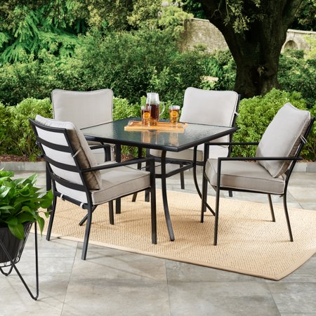 Mainstays Richmond Hills 5-Piece Patio Dining Set with Gray Cushions