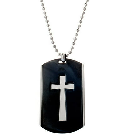 Men's Black-Plated Cross Stainless Steel Dog Tag Pendant, 24""